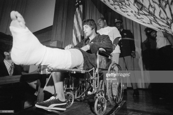 Joe Namath In Wheelchair Cast On Leg